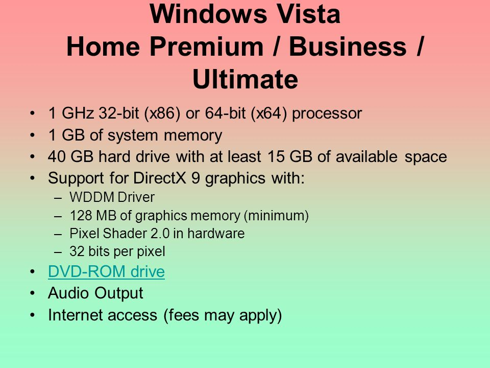 Windows Vista Home Premium / Business / Ultimate