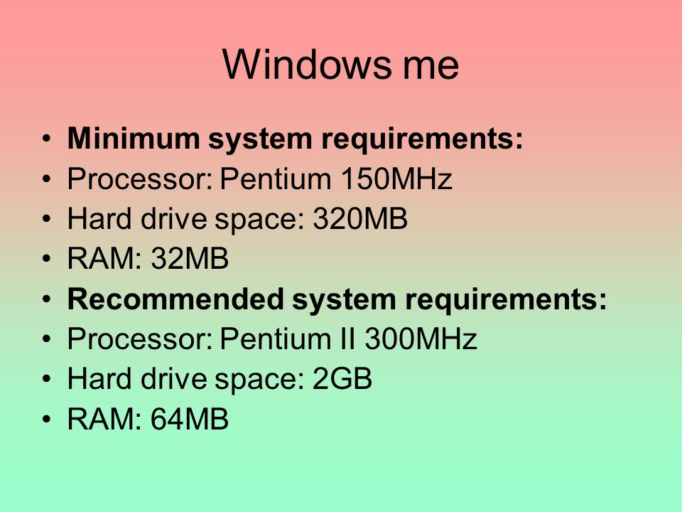 Windows me Minimum system requirements: Processor: Pentium 150MHz