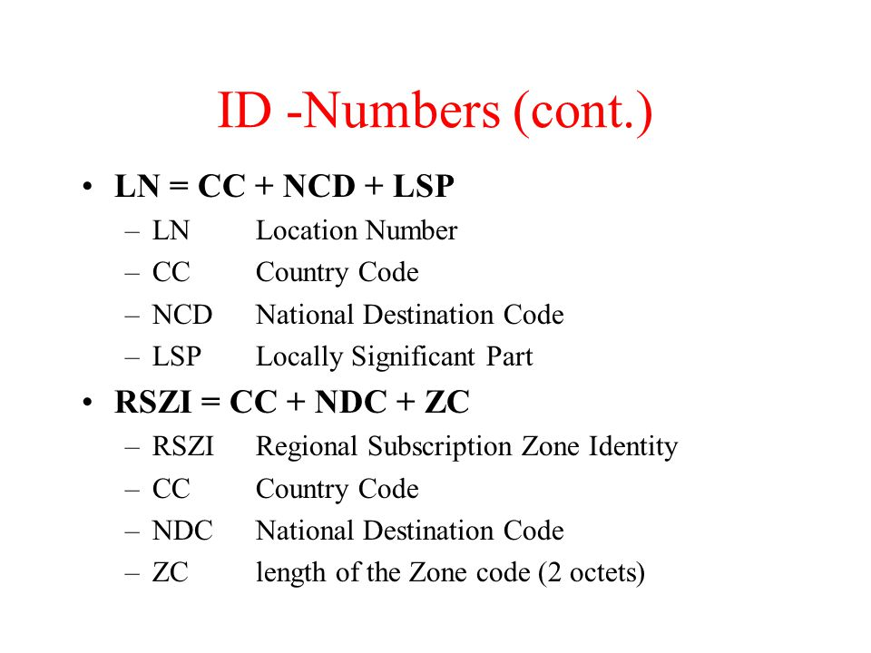 ID -Numbers (cont.) LN = CC + NCD + LSP RSZI = CC + NDC + ZC