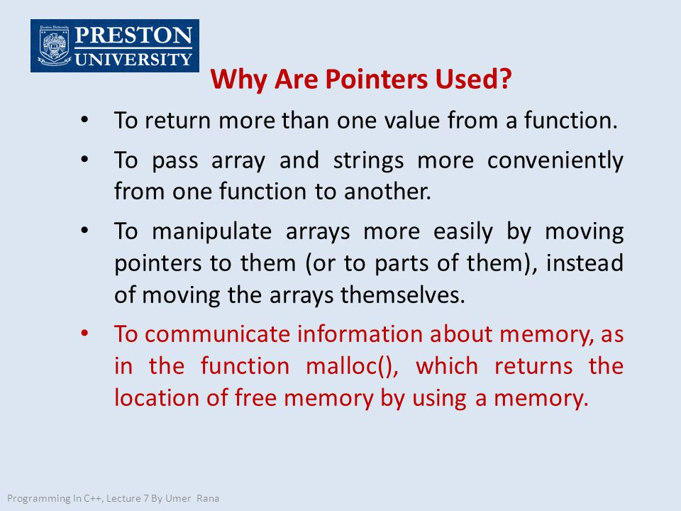 Why Are Pointers Used To return more than one value from a function.