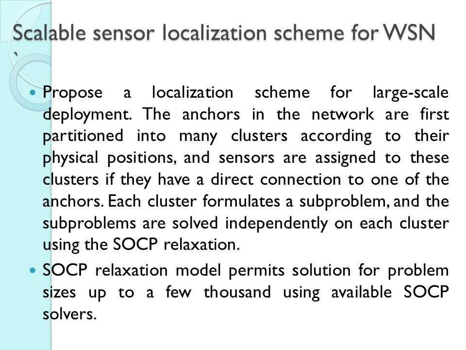 Scalable sensor localization scheme for WSN `