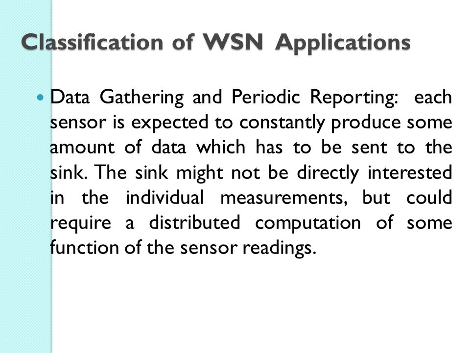 Classification of WSN Applications