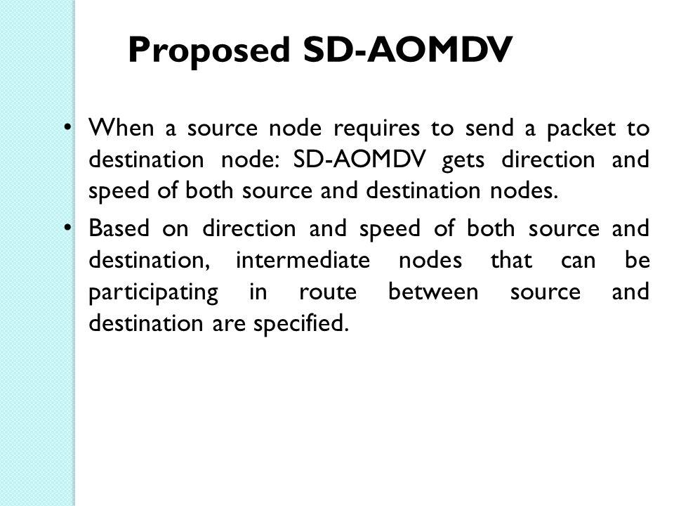 Proposed SD-AOMDV