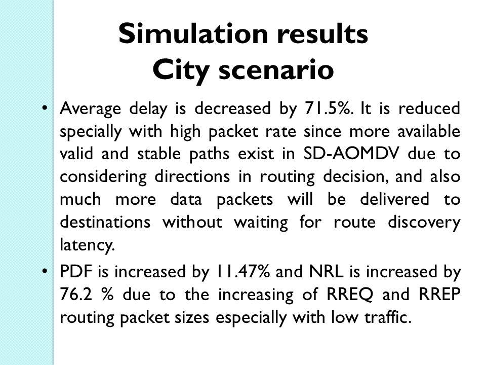 Simulation results City scenario