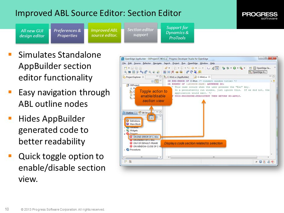 Improved ABL Source Editor: Section Editor