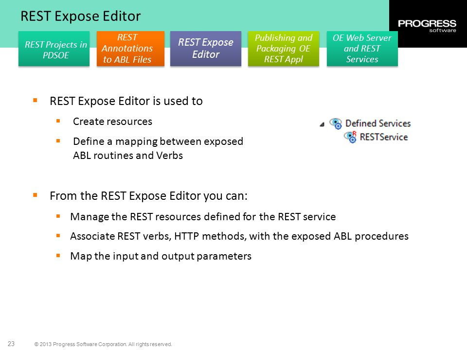 REST Expose Editor REST Expose Editor is used to