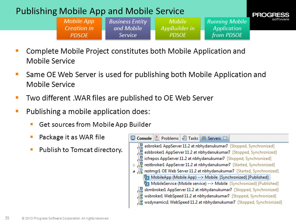 Publishing Mobile App and Mobile Service
