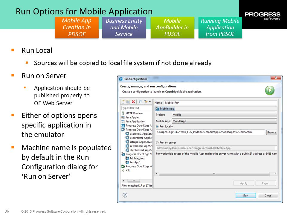 Run Options for Mobile Application