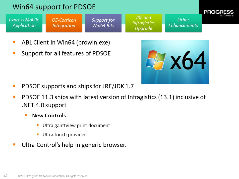 Win64 support for PDSOE ABL Client in Win64 (prowin.exe)