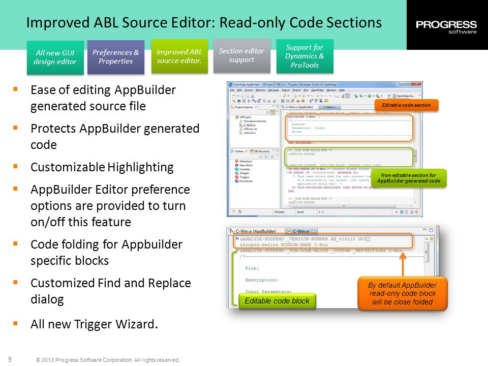 Improved ABL Source Editor: Read-only Code Sections