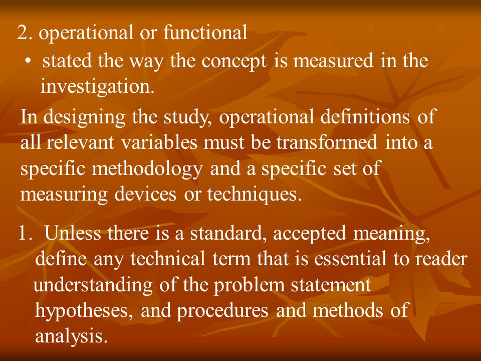 2. operational or functional