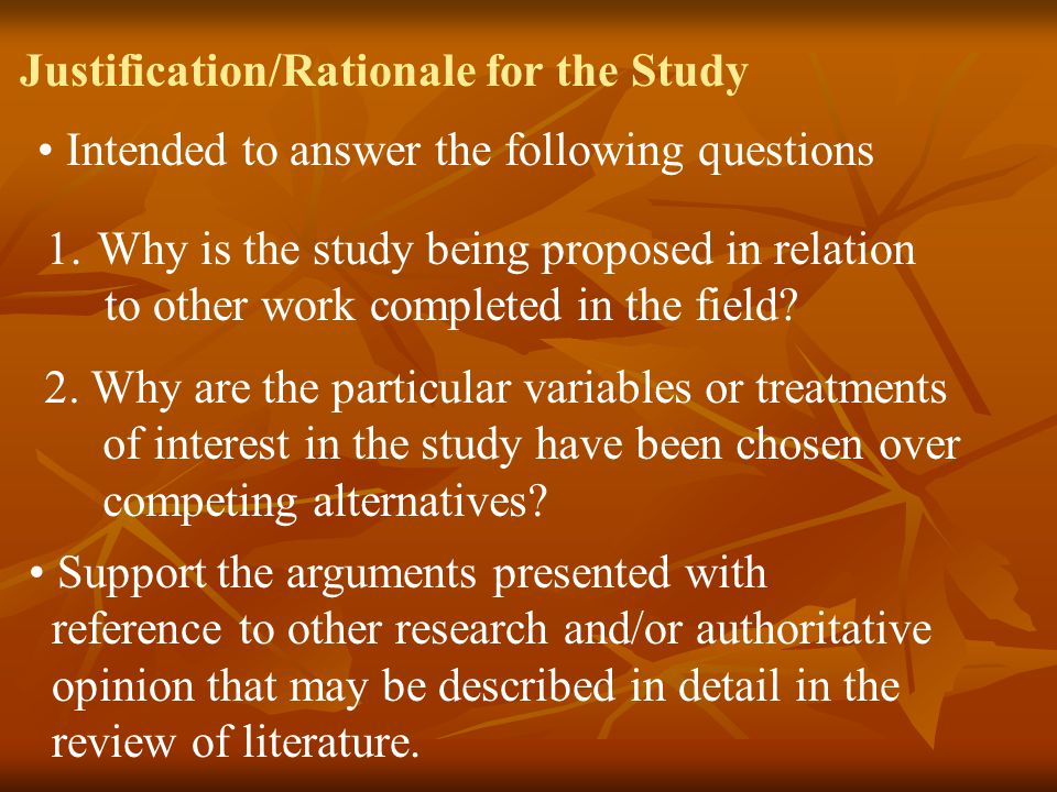 Justification/Rationale for the Study