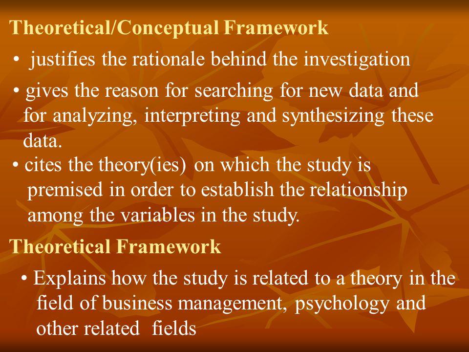 Theoretical/Conceptual Framework