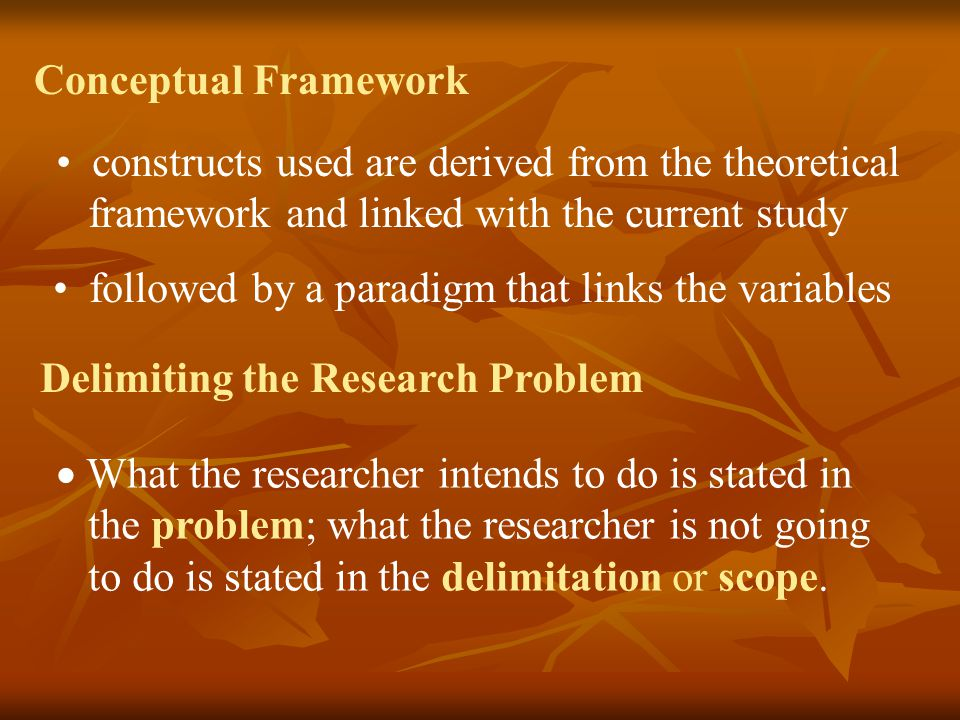 Conceptual Framework constructs used are derived from the theoretical. framework and linked with the current study.