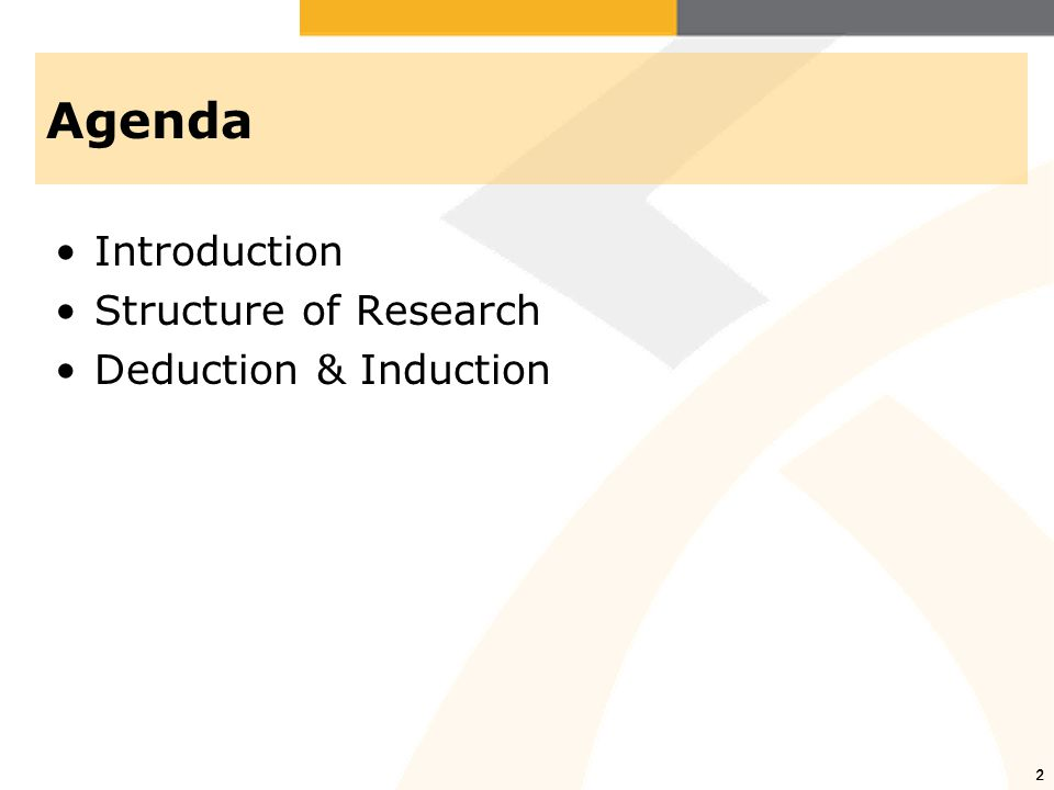Agenda Introduction Structure of Research Deduction & Induction 2 2