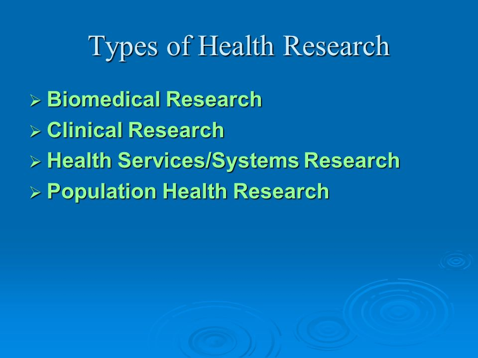 Types of Health Research