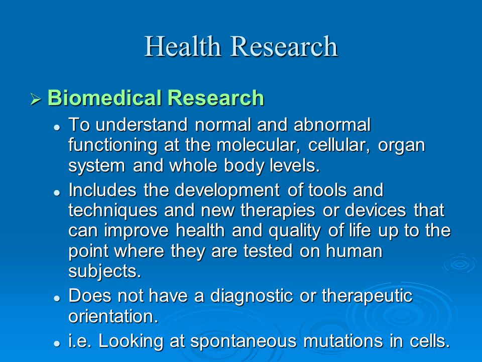 Health Research Biomedical Research