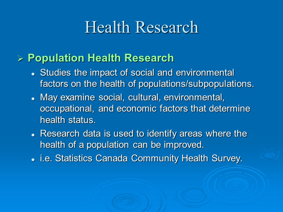 Health Research Population Health Research