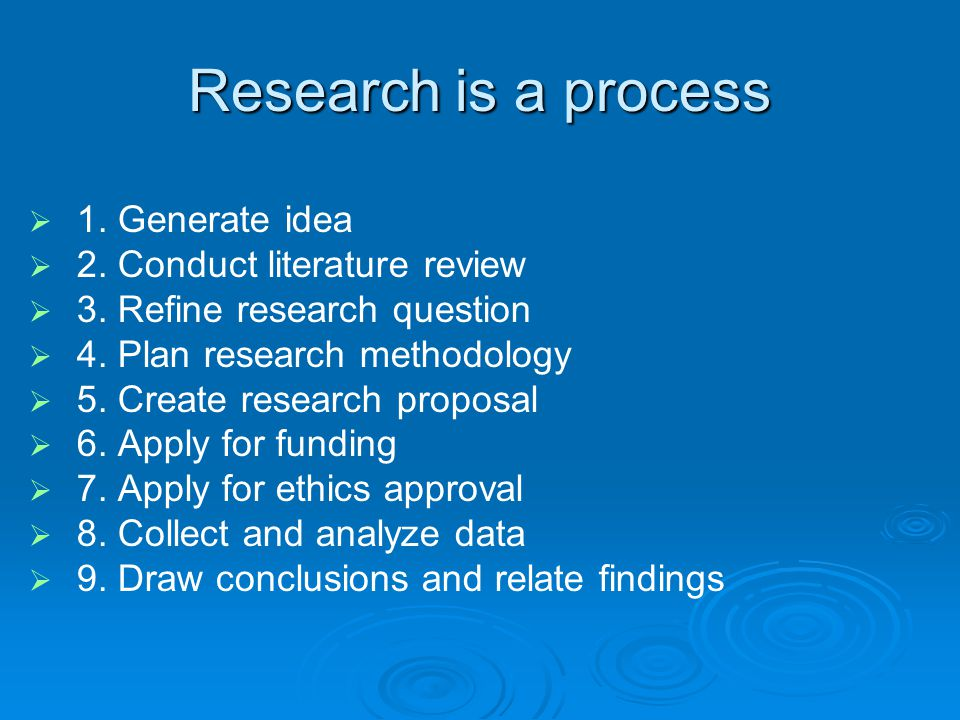 Research is a process 1. Generate idea 2. Conduct literature review