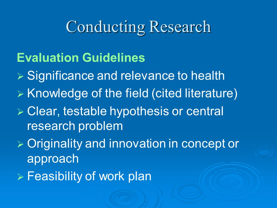 Conducting Research Evaluation Guidelines