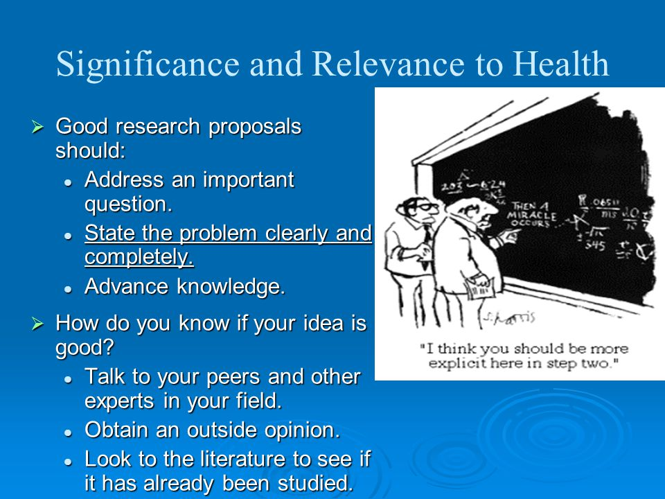 Significance and Relevance to Health