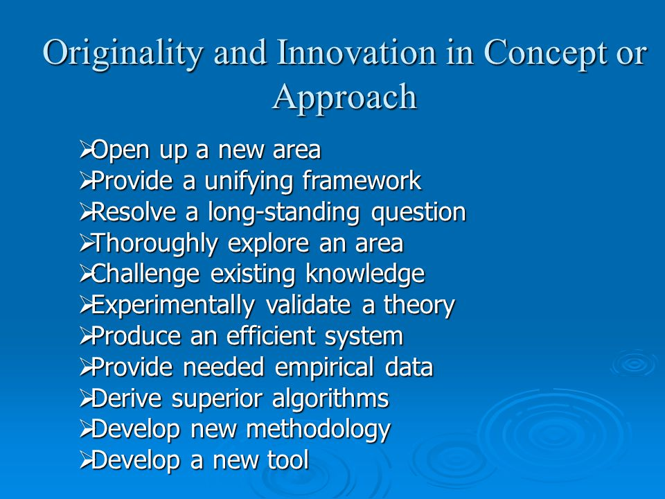 Originality and Innovation in Concept or Approach