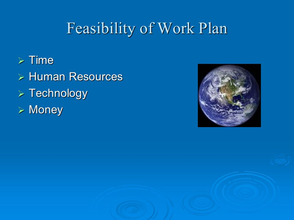 Feasibility of Work Plan