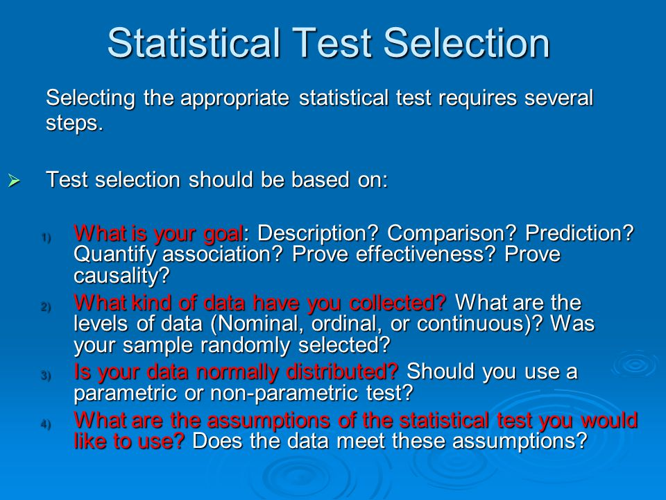 Statistical Test Selection