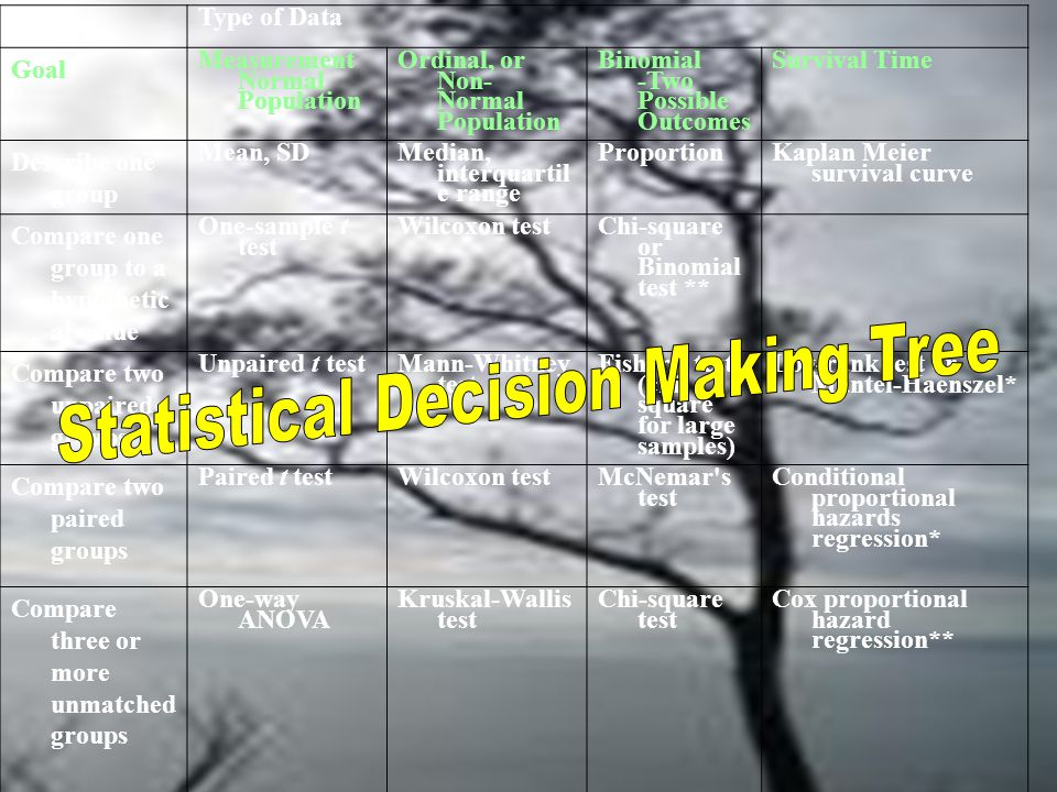 Statistical Decision Making Tree
