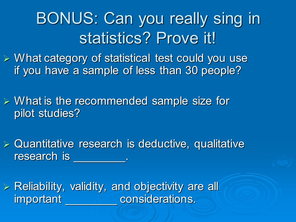 BONUS: Can you really sing in statistics Prove it!