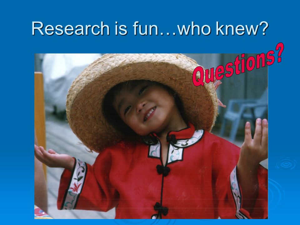 Research is fun…who knew