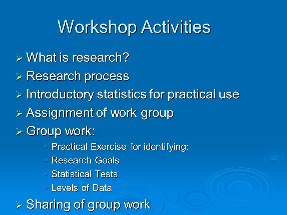 Workshop Activities What is research Research process