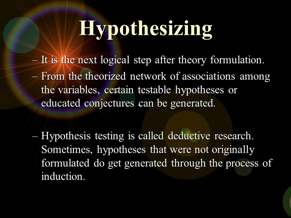Hypothesizing It is the next logical step after theory formulation.