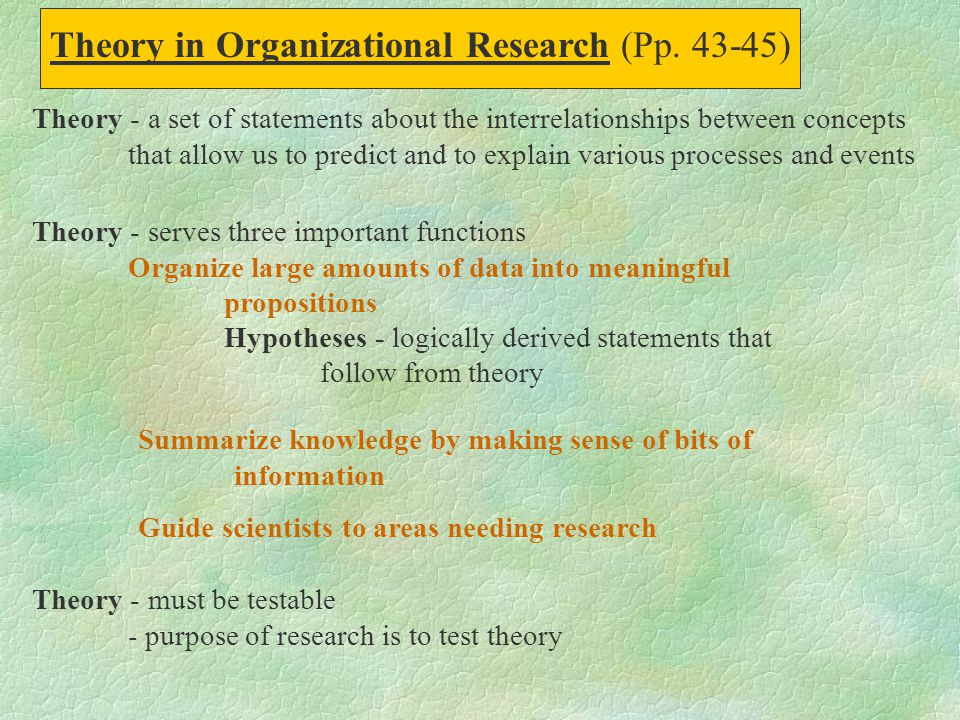 Theory in Organizational Research (Pp. 43-45)