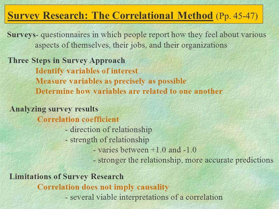 Survey Research: The Correlational Method (Pp. 45-47)