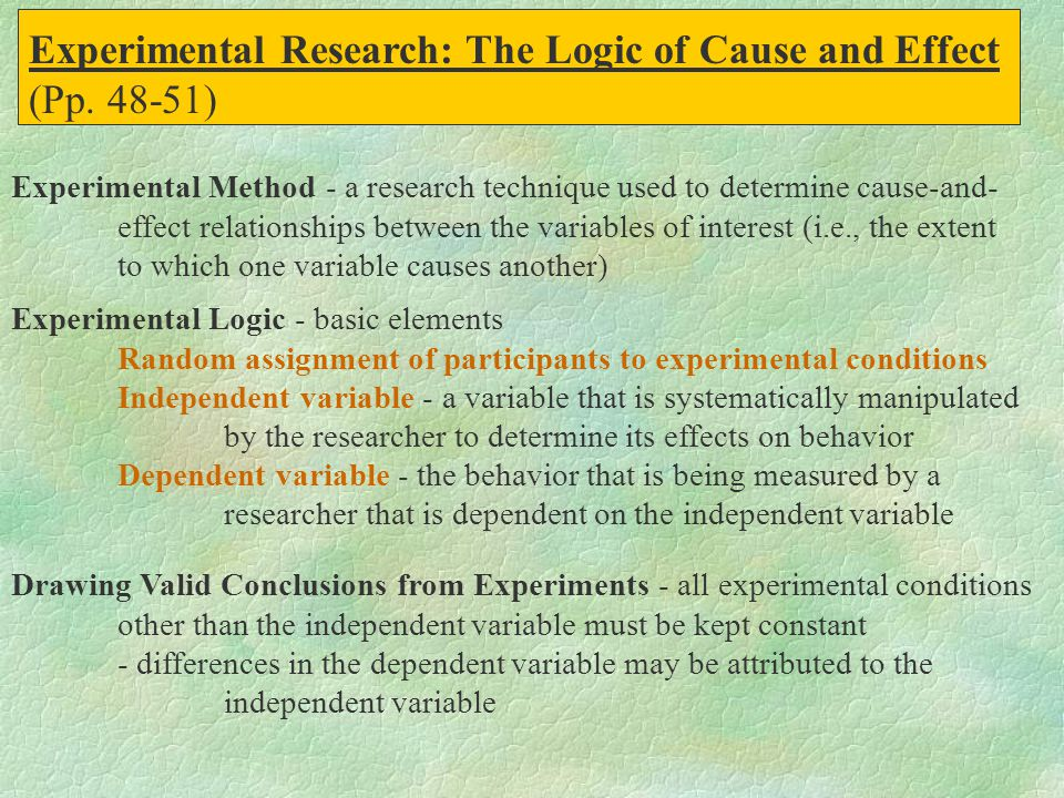 Experimental Research: The Logic of Cause and Effect (Pp. 48-51)