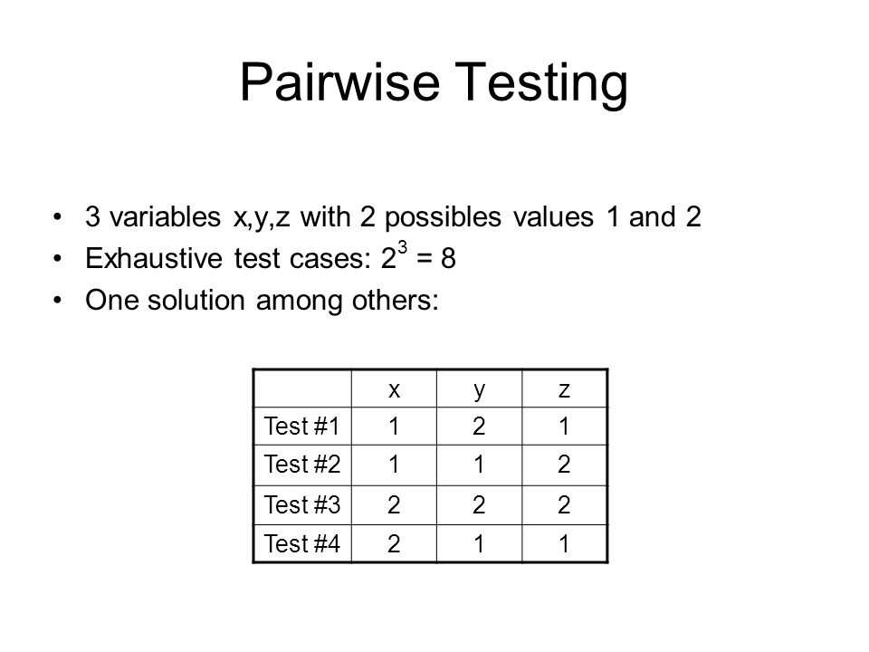 Pairwise Testing 3 variables x,y,z with 2 possibles values 1 and 2