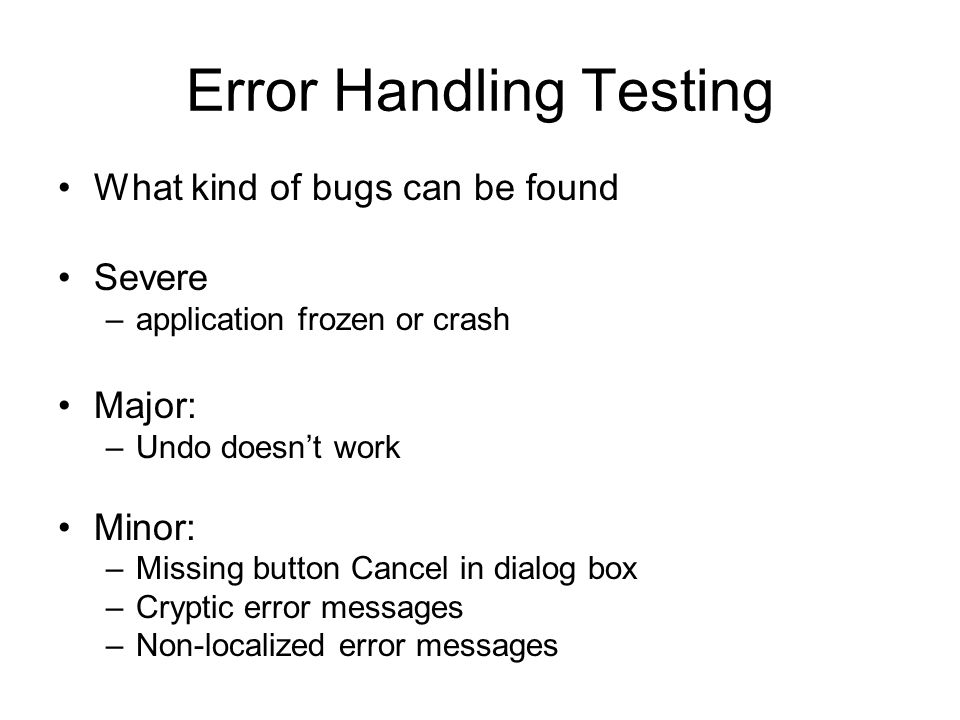 Error Handling Testing