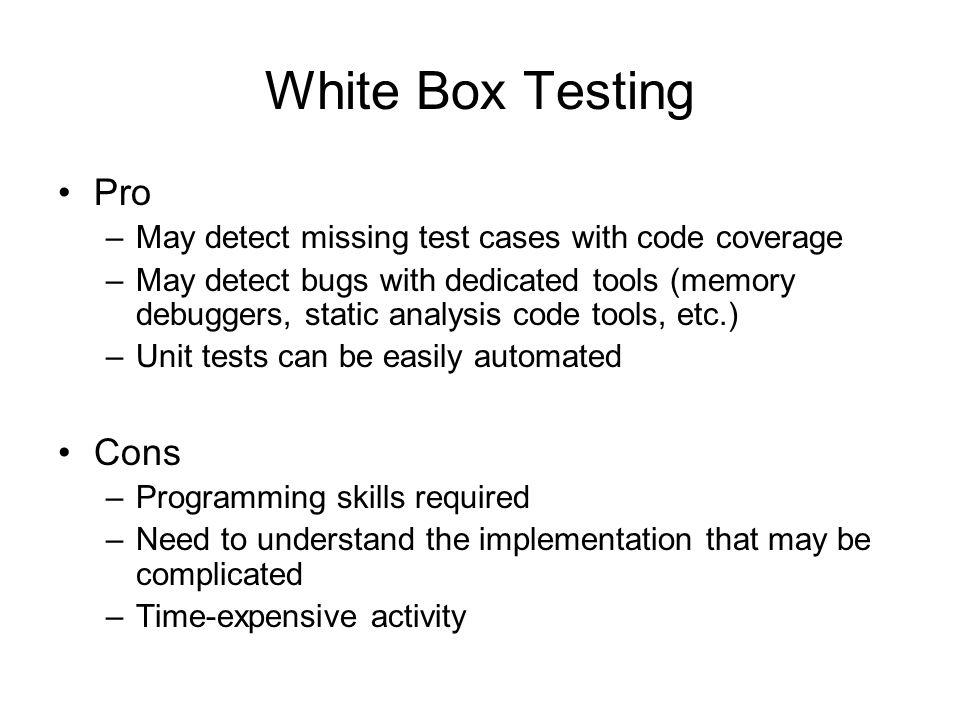 White Box Testing Pro Cons
