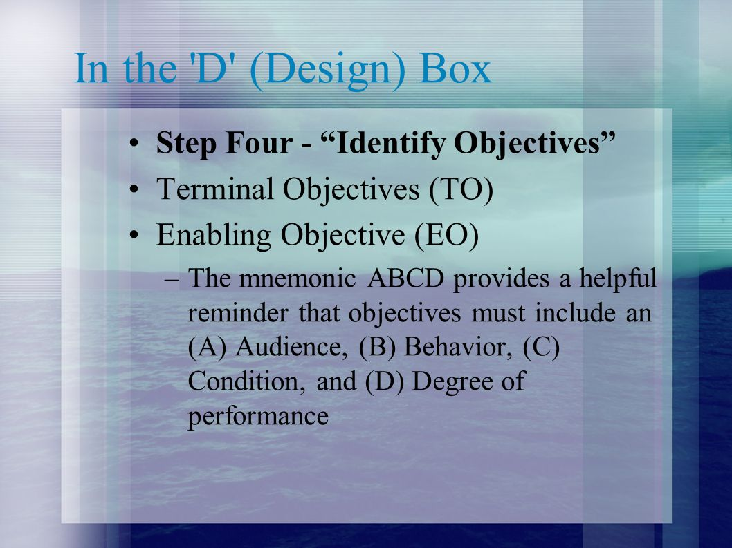In the D (Design) Box Step Four - Identify Objectives