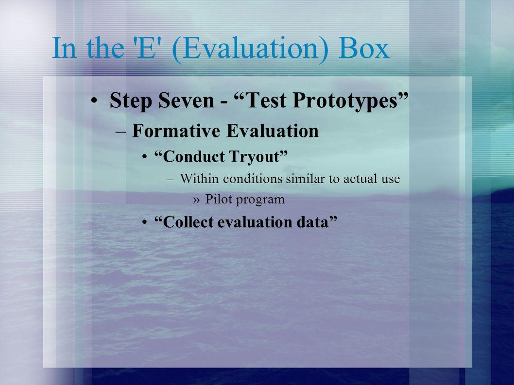 In the E (Evaluation) Box