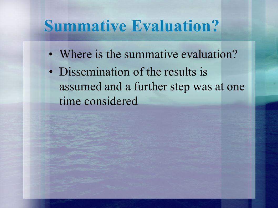 Summative Evaluation Where is the summative evaluation