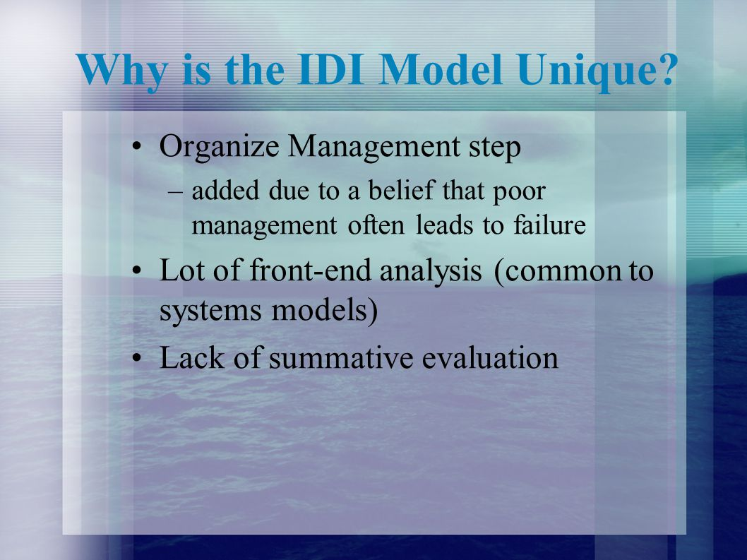 Why is the IDI Model Unique