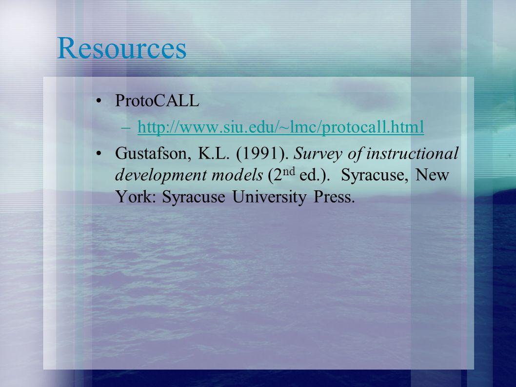 Resources ProtoCALL http://www.siu.edu/~lmc/protocall.html