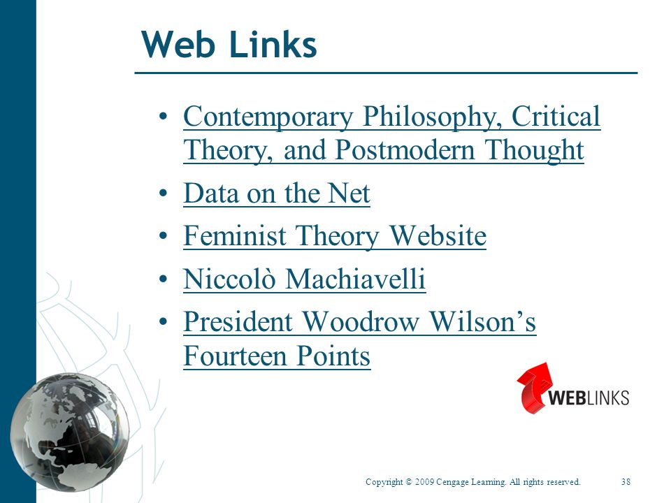 Web Links Contemporary Philosophy, Critical Theory, and Postmodern Thought. Data on the Net. Feminist Theory Website.