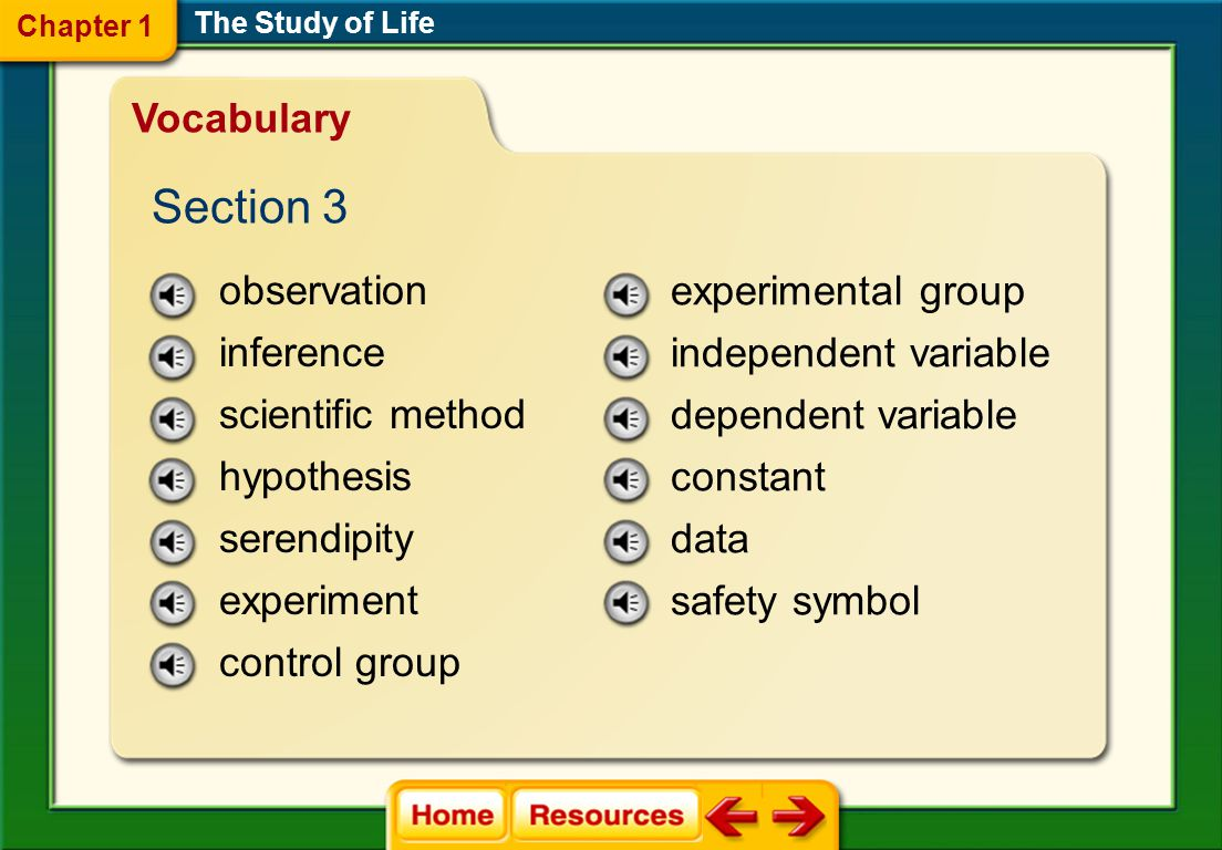 Section 3 Vocabulary observation inference scientific method