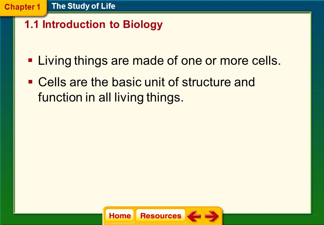 Living things are made of one or more cells.