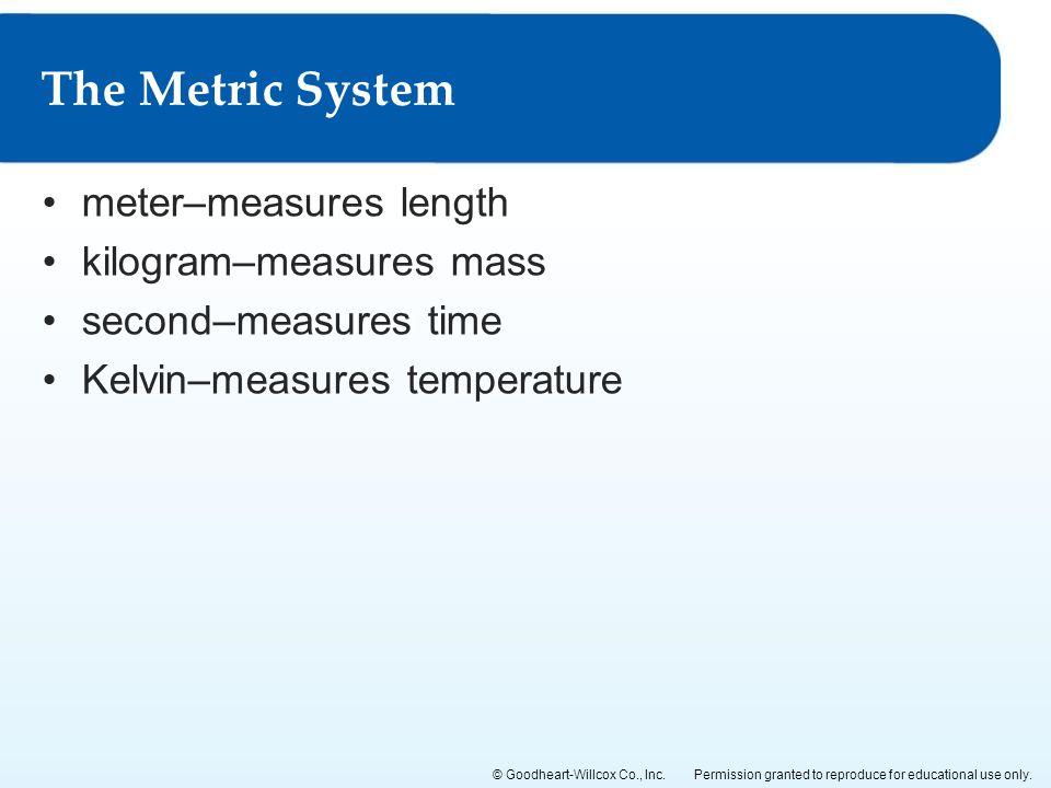 The Metric System meter–measures length kilogram–measures mass