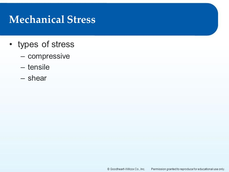 Mechanical Stress types of stress compressive tensile shear