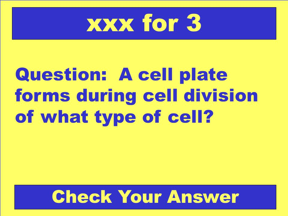 xxx for 3 Question: A cell plate forms during cell division of what type of cell.